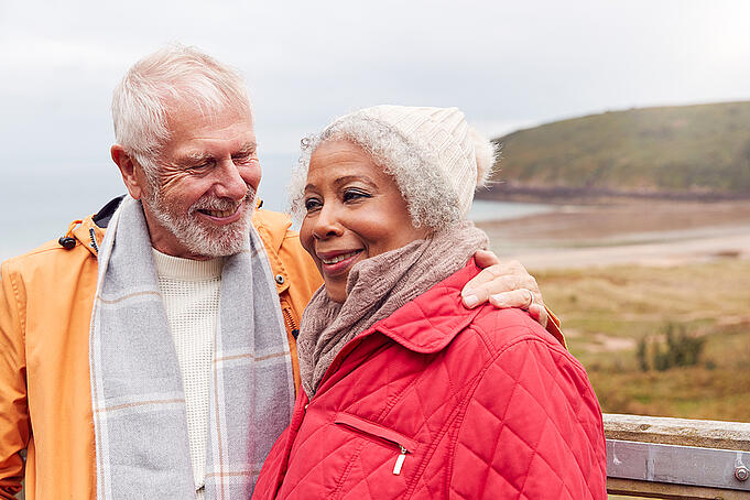 Happy senior couple spends time outdoors together.